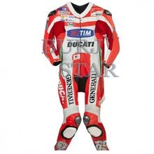 RED WHITE Racing Leather Professional Suit
