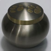Double Paw Print Brass Pet Cremation Urn