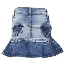 Fishtail Pleated Mini Denim Skirt