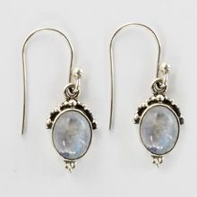 Sterling Silver Rainbow Moon Stone Earring