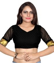 Black Creap Blouse With Short Sleeves