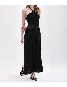 Black Halter Jersey Maxi Dress