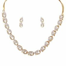 Gold Crystal Diamonds With Chain Necklace