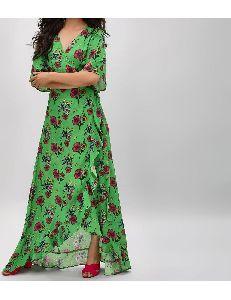 Green Floral Garden Maxi Dress