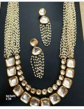 Long Pearl Kundan Necklace Set