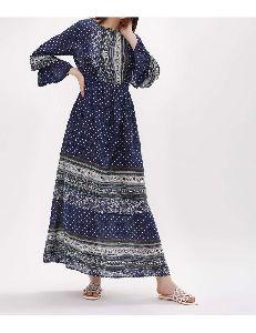 Long Tier Sleeve Printed Maxi Dress