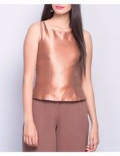 Silk Brocade Side Zipper Top
