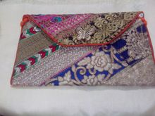patch work with zari hand bag cluch style