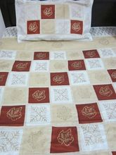 Silk multi color patch work bed cover set