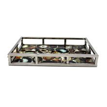 Glass Stainless Steel Handmade Decorative Tray