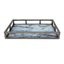 Glass Stainless Steel Serving Tray