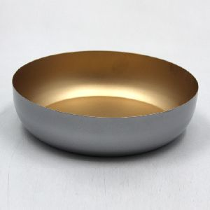 Gold Coated Metal Iron Round Bowl