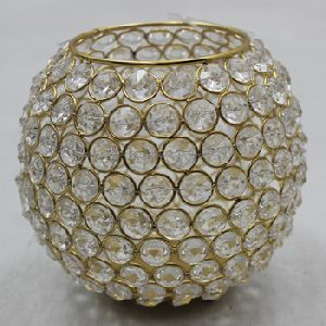 Gold Plated Crystal Votive Candle Holders