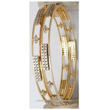 Solid Yellow Gold Diamond Bangle Jewelry