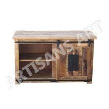 Vintage Industrial India Wood Tv Unit With Sliding Door