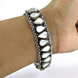 Designer 925 Sterling Silver Glass Gemstone Bracelet Traditional Jewelry