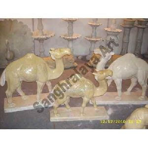 Yellow Marble Camel Statue