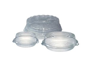 Clear Round Hinged Cake Containers