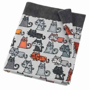 Feiler Cats Chenille Grey Bath Towel