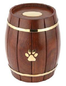 Custom Paw Print Wood Barrel Pet Urn