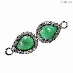 925 Silver Pave Diamond Emerald Connector Jewelry