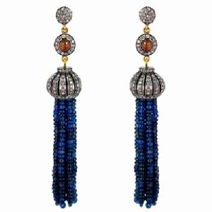 Blue Sapphire Beaded Tassel Earrings