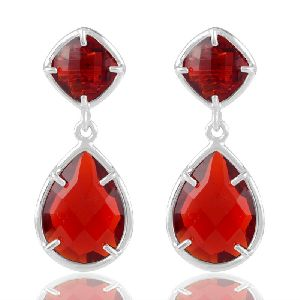 925 Sterling Silver Red Stone Earring