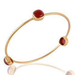 Gold Plated Red Onyx Bangle Fashion Jewelry Bangle