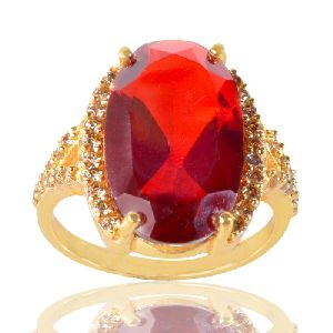 Red Gemstone And White Cubic Zirconia Gold Plated Fashion Ring