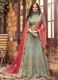 Blue Colored Pure Silk Bridal Lehenga
