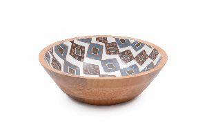 Exotic Diamond Pattern Wooden Bowl