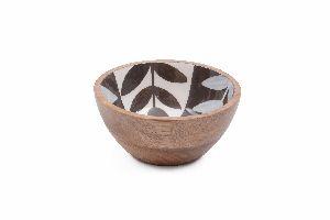 White Black Leaf Pattern Wooden Bowl