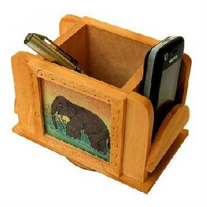 Wooden Crafted Mobile And Pen Holder