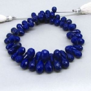 Lapis Faceted Drops Briollete Beads