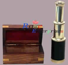 Nautical Brass Telescope With Wooden Box