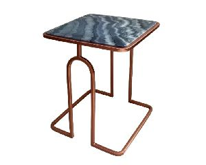 Metal Side Table With Granite Marble Top