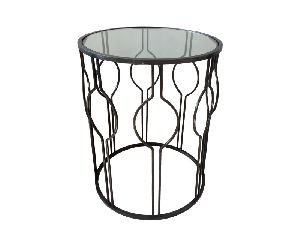 Metal Side Table With Glass Top
