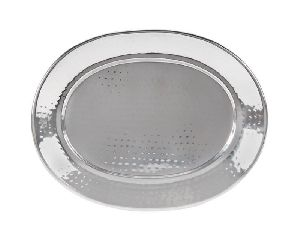 Oval Stainless Steel Hammered Serving Tray