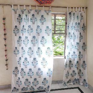 Block Print Design Window Cotton Curtain
