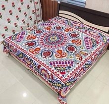 Indian Embroidered Suzani Bed Cover