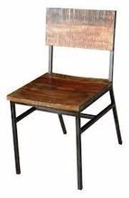 Iron Metal And Reclaimed Wood Dining Chair