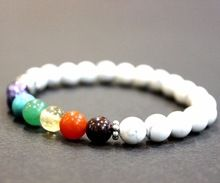 7 Chakra White Shell Gemstone Beaded Bracelet