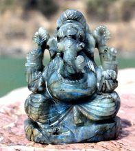 Natural Labradorite Premium Stone Carved Handmade Lord Ganesha Statue