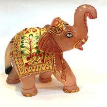 Rose Quartz Gemstone Elephant Figurine Statue