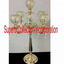 Gold Crystal Globe Five Arms Candelabra