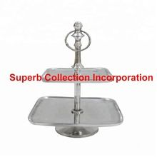 Square Silver Two Tier Cake Stand
