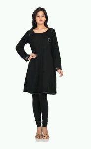 Black Embroidered Woolen Kurti