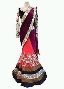 Purple And Pink Thread Work Velvet Saree