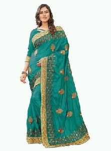 Turquoise Embroidered Satin Silk Saree