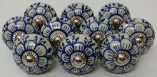 Blue Color Flower Design Handpainted emboss